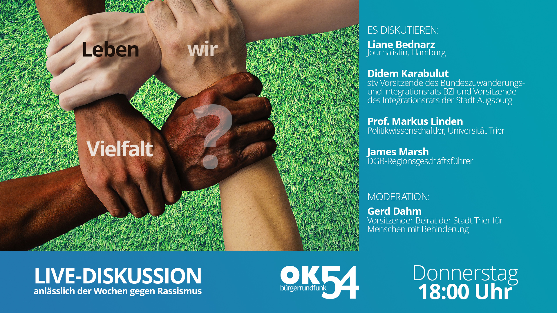Read more about the article Leben wir Vielfalt? Live-Diskussion am Donnerstagabend